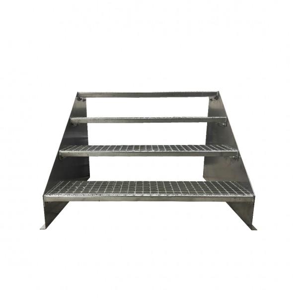 4-stufige Stahltreppe freistehend / Standtreppe / Breite 130 cm / Höhe 84 cm / Verzinkt
