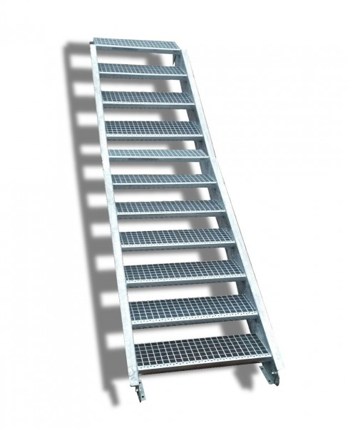 11-stufige Stahltreppe / Breite: 130 cm / Wangentreppe / Gitterrosttreppe mit 11 Stufen