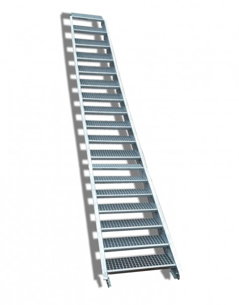 18-stufige Stahltreppe / Breite: 160 cm / Wangentreppe / Gitterrosttreppe mit 18 Stufen