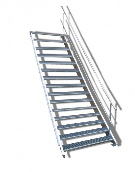 15-stufige Stahltreppe mit einseitigem Geländer / Breite: 130 cm / Wangentreppe mit 15 Stufen
