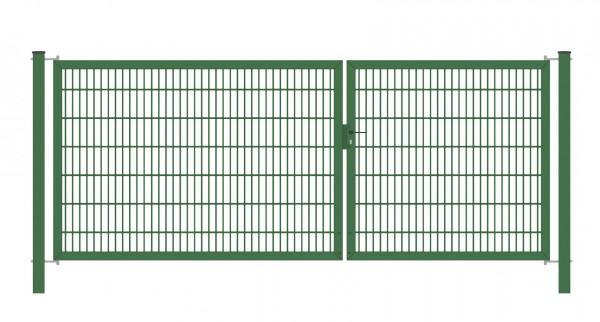 Gartentor Classic Strong (2-flügelig) asymmetrisch; Grün 6/5/6 mm Doppelstabmatte; Breite 225 cm Höhe 80 cm