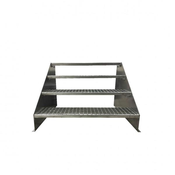 4-stufige Stahltreppe freistehend / Standtreppe / Breite 80 cm / Höhe 84 cm / Verzinkt