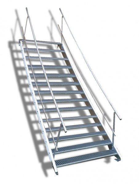 14-stufige Stahltreppe mit beidseitigem Geländer / Breite: 100 cm / Wangentreppe mit 14 Stufen