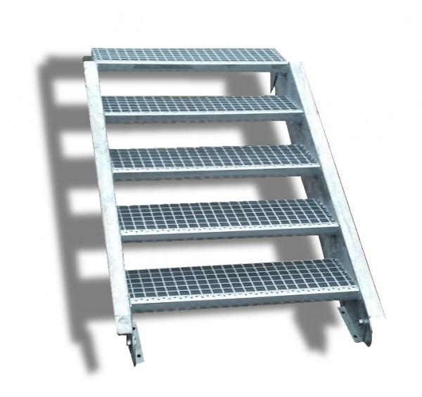 5-stufige Stahltreppe / Breite: 150 cm / Wangentreppe / Gitterrosttreppe mit 5 Stufen