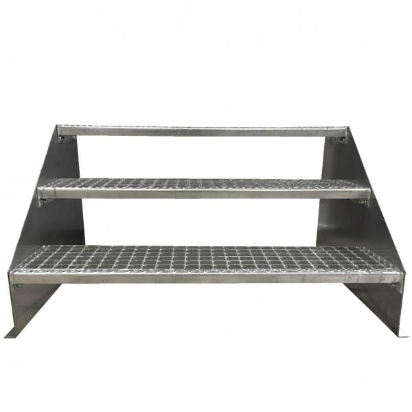 3-stufige Stahltreppe freistehend / Standtreppe / Breite 140 cm / Höhe 63 cm / Verzinkt