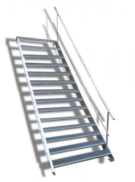 14-stufige Stahltreppe mit einseitigem Geländer / Breite: 150 cm / Wangentreppe mit 14 Stufen
