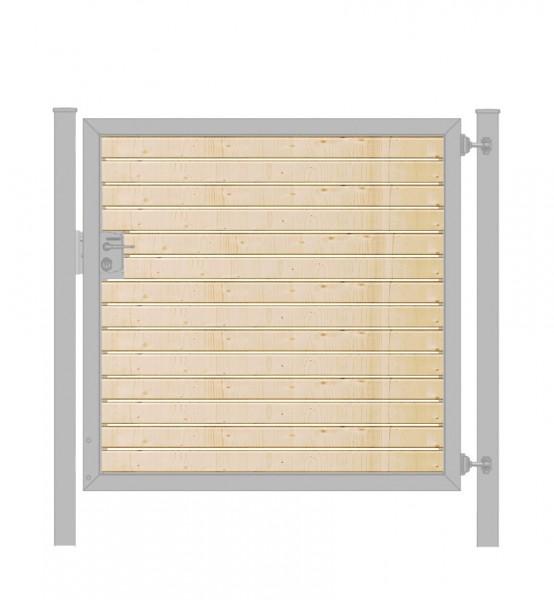 Gartentor / Zauntür Premium-Line mit Holzfüllung waagerecht Verzinkt Breite 125cm x Höhe 120cm