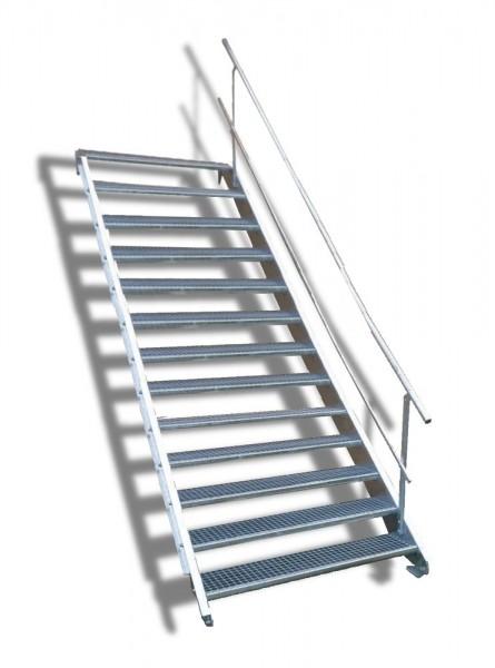 13-stufige Stahltreppe mit einseitigem Geländer / Breite: 140 cm / Wangentreppe mit 13 Stufen