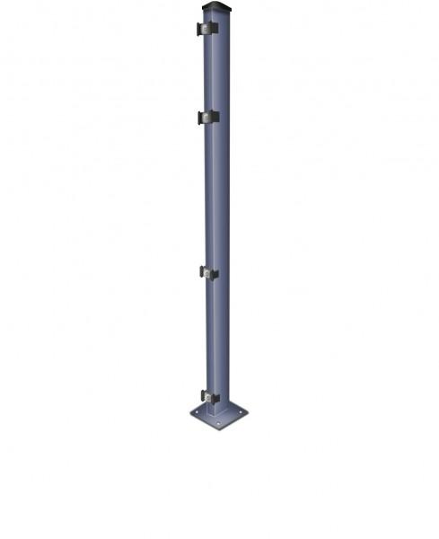 Zaun-Pfosten mit Fußplatte (zum Aufdübeln)/ Anthrazit / für Zaunfeld 123cm hoch