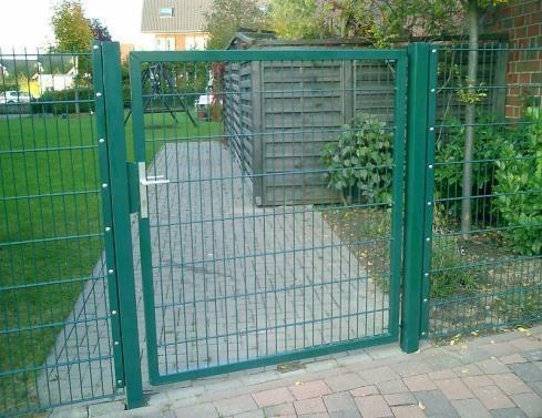 Gartentor / Zauntür Premium für Stabmattenzaun Breite 125cm x Höhe 120cm Farbe Moosgrün