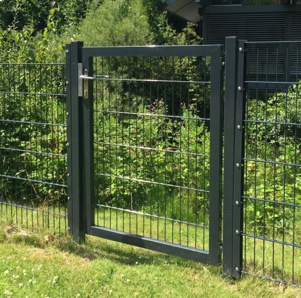 Gartentor / Zauntür Premium für Stabmattenzaun Breite 125cm x Höhe 200cm Farbe Anthrazit