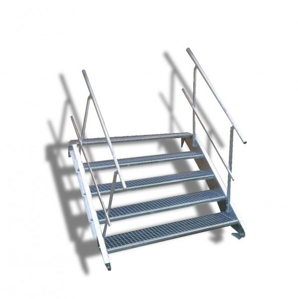 5-stufige Stahltreppe mit beidseitigem Geländer / Breite: 150 cm / Wangentreppe mit 5 Stufen