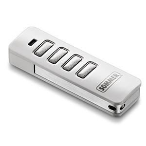 4-Befehl Handsender (4018V020) Pearl weiß / Edelstahl für Twist Drehtorantriebe