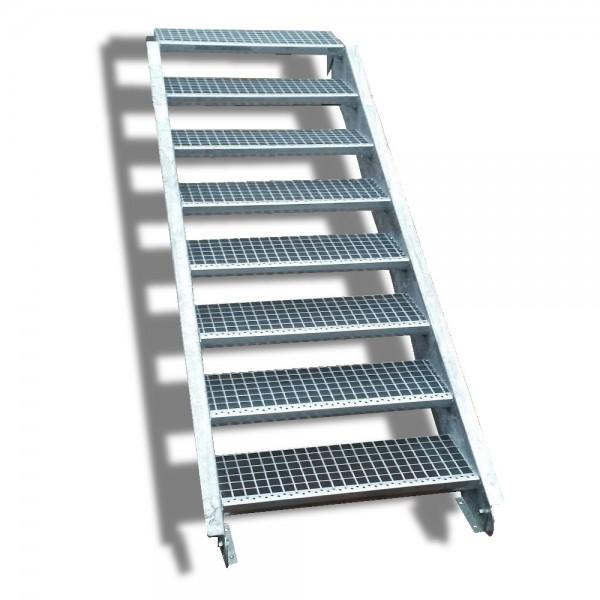 8-stufige Stahltreppe / Breite: 140 cm / Wangentreppe / Gitterrosttreppe mit 8 Stufen