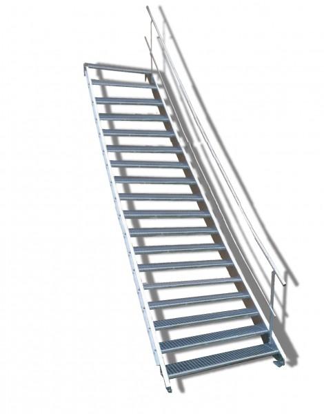 18-stufige Stahltreppe mit einseitigem Geländer / Breite: 130 cm / Wangentreppe mit 18 Stufen