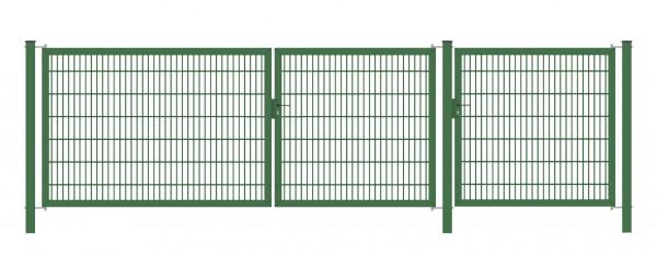 Gartentor Classic Strong (3-flügelig) asymmetrisch (1,5|1,25|1); Grün 6/5/6 mm Doppelstabmatte; Gesamtbreite 375 cm Höhe 80 cm