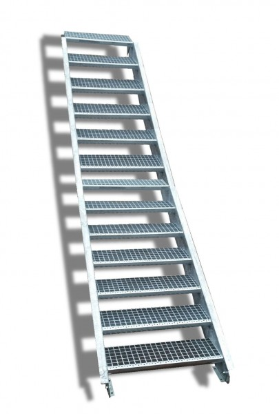 13-stufige Stahltreppe / Breite: 150 cm / Wangentreppe / Gitterrosttreppe mit 13 Stufen