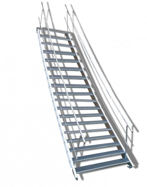18-stufige Stahltreppe mit beidseitigem Geländer / Breite: 60 cm / Wangentreppe mit 18 Stufen