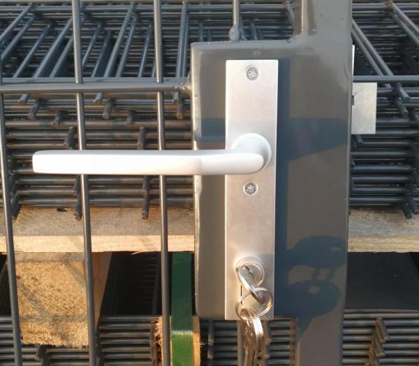 Schloss-Komplett-Set: Langschilder, Schlosseinsatz, Drückergarnitur und Schließzylinder für Basic-Line-Tore