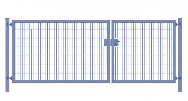 Einfahrtstor Premium Plus 6/5/6 (2-flügelig) asymmetrisch; Anthrazit RAL 7016 Doppelstabmatte; Breite 250 cm x Höhe 100 cm