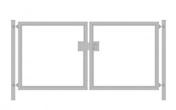 Einfahrtstor Premium (2-flügelig) symmetrisch für waagerechte Holzfüllung; Verzinkt; Breite 250 cm x Höhe 100cm