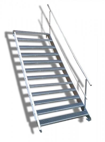 12-stufige Stahltreppe mit einseitigem Geländer / Breite: 130 cm / Wangentreppe mit 12 Stufen