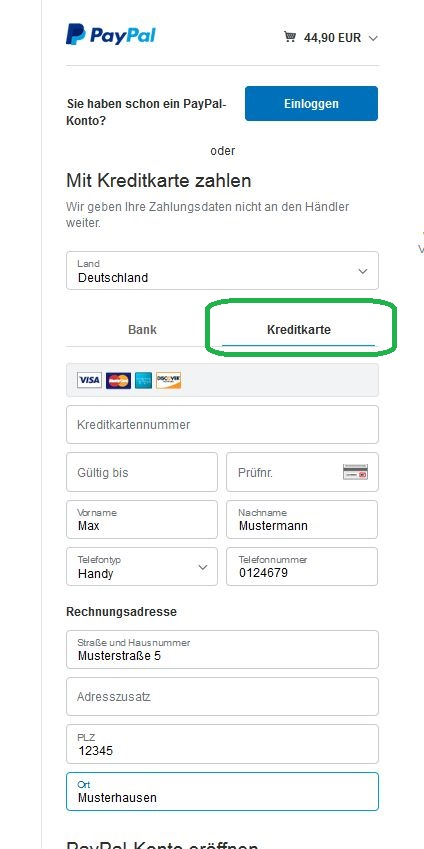 Zahlung Per Kreditkarte Uber Paypal
