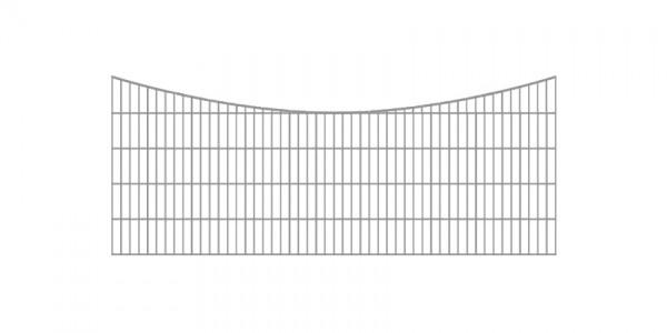 Doppelstabmatten-Schmuckzaun Bogen konvex Komplett-Set / Verzinkt / 101cm hoch / 5m lang