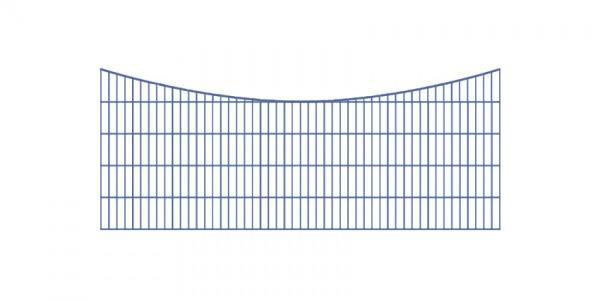 Doppelstabmatten-Schmuckzaun Bogen konvex Komplett-Set mit Abdeckleisten / Anthrazit / 201cm hoch / 97,5m lang