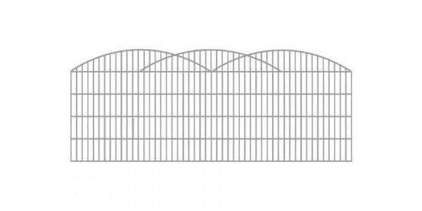 Doppelstab-Schmuckzaun 3-er Bogen Komplett-Set mit Abdeckleisten / Verzinkt / 101cm hoch / 5m lang