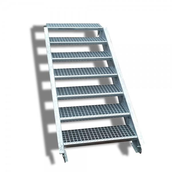 7-stufige Stahltreppe / Breite: 130 cm / Wangentreppe / Gitterrosttreppe mit 7 Stufen
