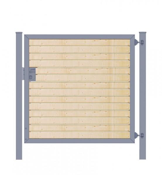 Gartentor / Zauntür Premium-Line mit Holzfüllung waagerecht Anthrazit Breite 150cm x Höhe 80cm
