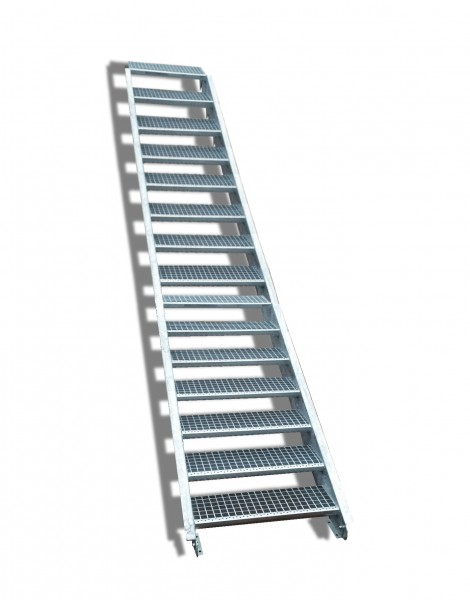 15-stufige Stahltreppe / Breite: 140 cm / Wangentreppe / Gitterrosttreppe mit 15 Stufen