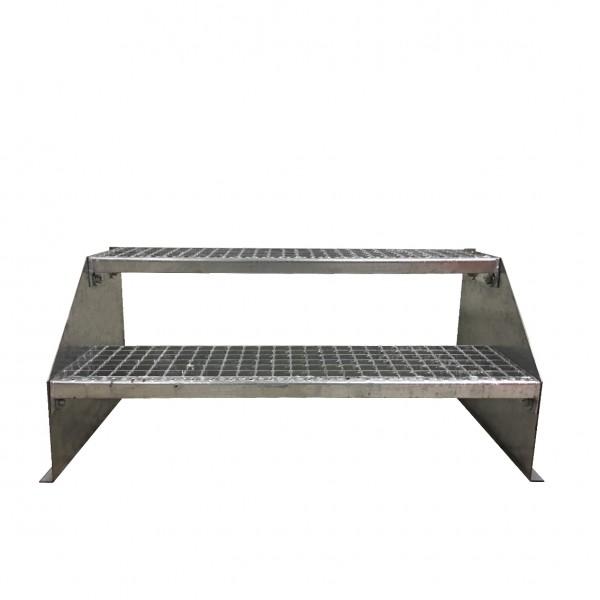 2-stufige Stahltreppe freistehend / Standtreppe / Breite 130 cm / Höhe 42 cm / Verzinkt