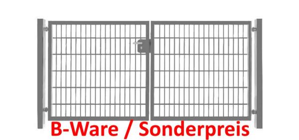 Einfahrtstor Basic (2-flügelig) symmetrisch ; Verzinkt Doppelstabmatte; Breite 250 cm x Höhe 103cm