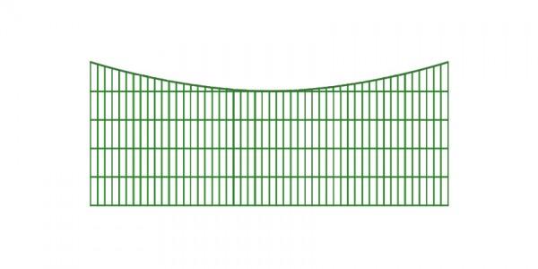 Doppelstabmatten-Schmuckzaun Bogen konvex Komplett-Set mit Abdeckleisten / Grün / 201cm hoch / 97,5m lang