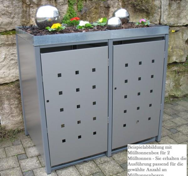 Premium Metall Mülltonnenbox Dunkelgraumetallic (ähnl. RAL 9007) für 1 240l Mülltonne (Größe XL)
