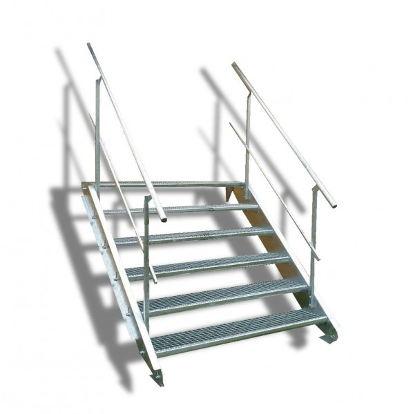 6-stufige Stahltreppe mit beidseitigem Geländer / Breite: 140 cm / Wangentreppe mit 6 Stufen