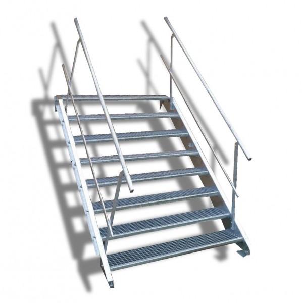 8-stufige Stahltreppe mit beidseitigem Geländer / Breite: 160 cm / Wangentreppe mit 8 Stufen