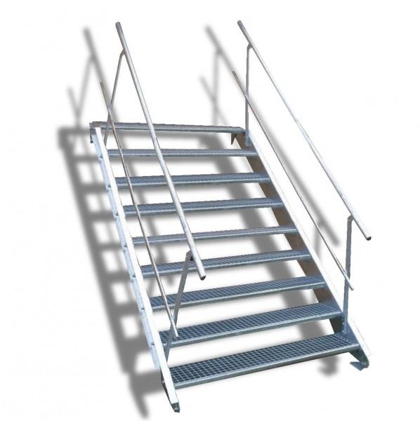 9-stufige Stahltreppe mit beidseitigem Geländer / Breite: 130 cm / Wangentreppe mit 9 Stufen