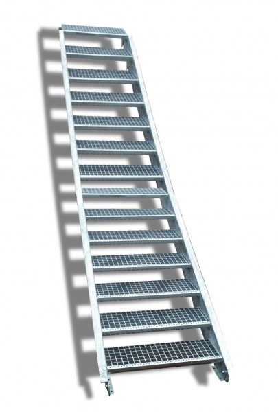 14-stufige Stahltreppe / Breite: 130 cm / Wangentreppe / Gitterrosttreppe mit 14 Stufen