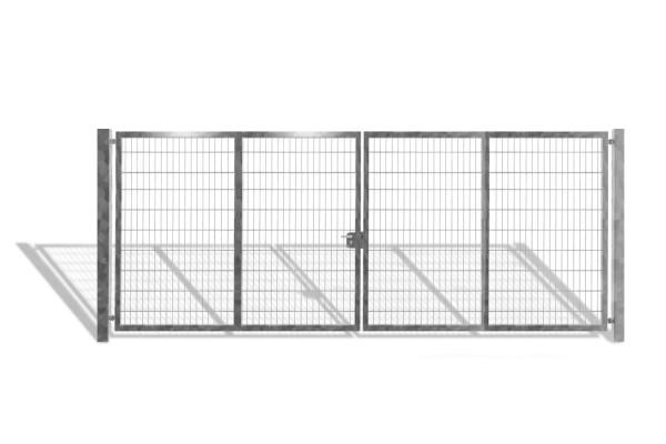 Industrietor / Doppelstabmattentor verzinkt / 2-Flügelig / Breite 600 cm x Höhe 200 cm