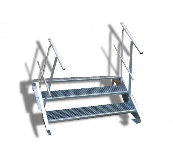 3-stufige Stahltreppe mit beidseitigem Geländer / Breite: 150 cm / Wangentreppe mit 3 Stufen