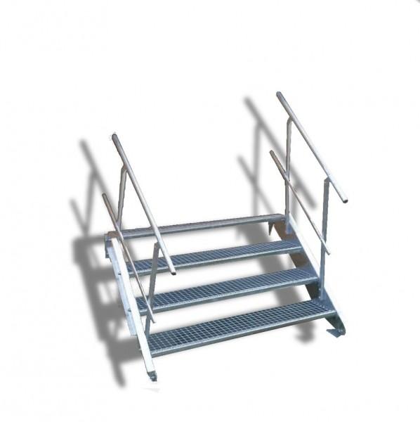 4-stufige Stahltreppe mit beidseitigem Geländer / Breite: 140 cm / Wangentreppe mit 4 Stufen