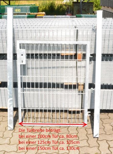 Gartentor / Zauntür Basic für Stabmattenzaun Verzinkt Breite (inkl. Pfosten) 125cm x Höhe 123cm