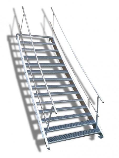 14-stufige Stahltreppe mit beidseitigem Geländer / Breite: 140 cm / Wangentreppe mit 14 Stufen