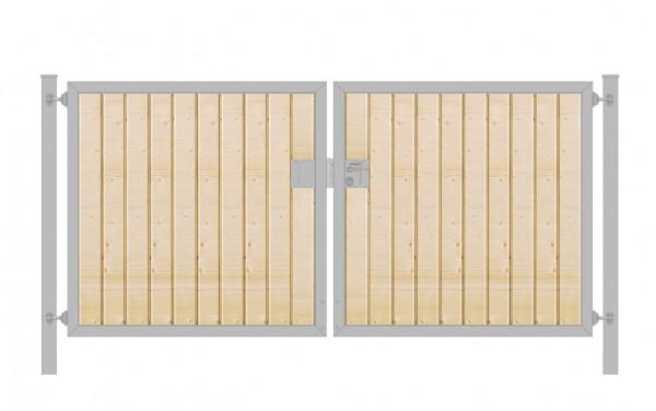 Einfahrtstor Premium (2-flügelig) mit Holzfüllung senkrecht; symmetrisch; verzinkt; B:250 cm H:100 cm