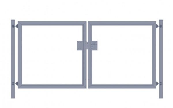 Einfahrtstor Premium (2-flügelig) symmetrisch für senkrechte Holzfüllung; Anthrazit RAL 7016; Breite 200 cm x Höhe 100cm