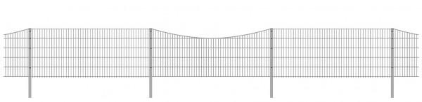 Schmuckzaun / Doppelstabmattenzaun 2-in-1 Bogen konvex Komplett-Set / Verzinkt / 101cm hoch / 7,5m lang