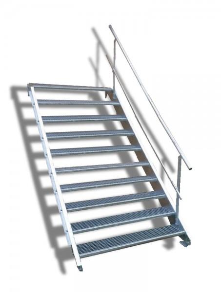 10-stufige Stahltreppe mit einseitigem Geländer / Breite: 110 cm / Wangentreppe mit 10 Stufen